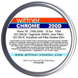 02 - Wittner Chrome 200D Agfa Aviphot Couleur - 16mm - 2 Perforations {JPEG}
